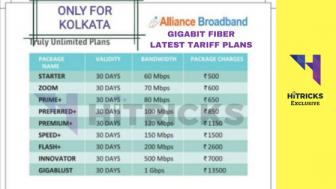 Alliance Broadband Gigabit Fiber New Tariff Plans wef April 2018
